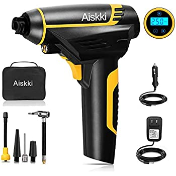 Aiskki Digital Cordless Tire Inflator, Portable Tire Hand Held Vehicle-Mounted Air Compressor Pump,12V DC 150PSI for Car, Ball, Air Cushion
