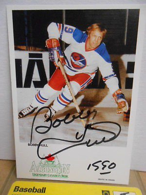 Bobby Hull rare WHA signed in person 4x6 vintage photo sold with COA