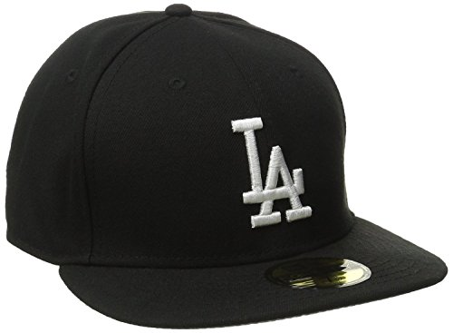 MLB Los Angeles Dodgers Black with White 59FIFTY Fitted Cap, 7 3/8