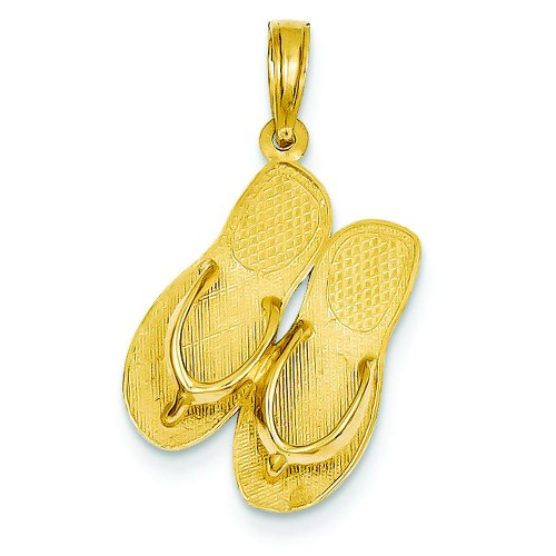 14K Gold 3D Maui Aloha Reversible Flip Flop Charm ()