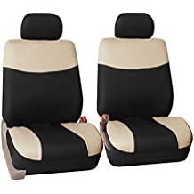 FH GROUP FH-FB056102 FH Group Modern Flat Cloth Bucket Car Seat Covers , Airbag compatible, Beige / Black Color - Fit Most Car, Truck, Suv, or Van