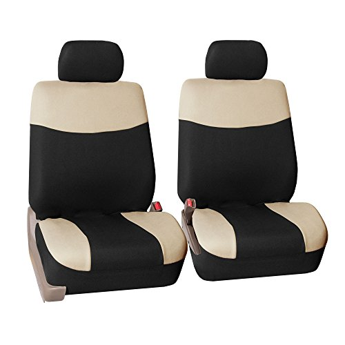 FH Group FH-FB056102 Modern Flat Cloth Seat Covers Pair Set, Beige/Black Color -Fit Most Car, Truck, Suv, or Van by FH Group