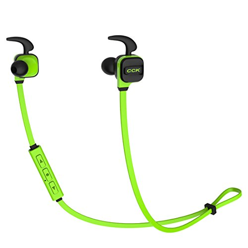 MERVINTECH Bluetooth Headphones, CCK KS Wireless 4.1 Noodle Cable Earbuds Stereo Earphones, Comfortable and Stable for Sports with Built-in Mic (Green)