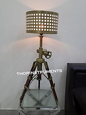 Antique Brass Nautical Brown Wood Tripod Table Shade Lamp Home Decor Best Design