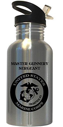 Custom Image Factory Master Gunnery Sergeant - US Marine Corps Stainless Steel Water Bottle Straw Top, - Gunnery Master Sergeant Usmc