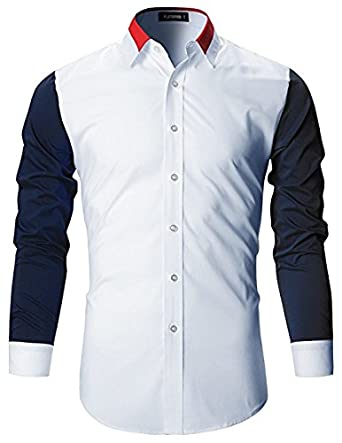 124a6eba FINIVO FASHION Men's Cotton Slim Fit Casual Shirt (White, 44 ...