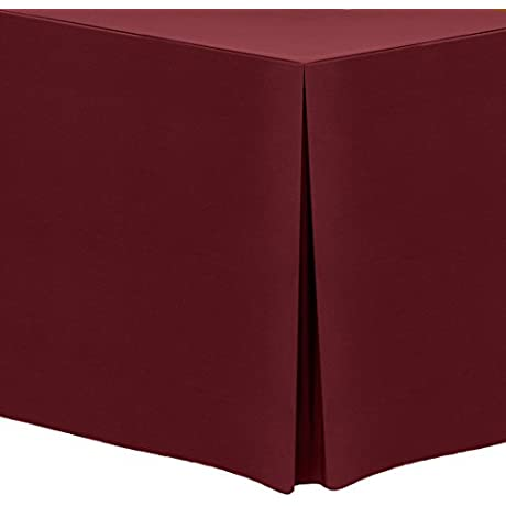 Ultimate Textile 5 Pack 6 Ft Fitted Polyester Tablecloth For 30 X 72 Inch Banquet And Folding Tables Brick Red