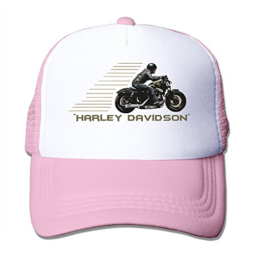 Nerd-Harley-Davidson-Adult-Nylon-Adjustable-Mesh-Hat-Trucker-Cap-Pink-One-Size-Fits-Most
