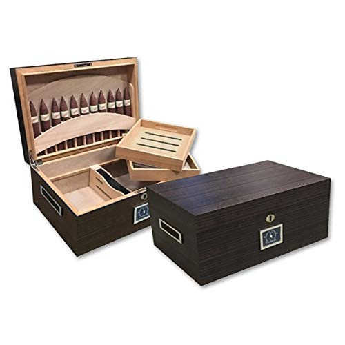 $109.00 daniel marshall humidor Prestige Import Group – The Rockefeller Cigar Humidor – Color: Matte Ebony 2019