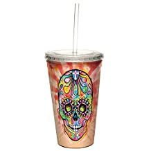 Tree-Free Greetings 98214 Dean Russo Spectral Sugar Skull Double-Walled Cool Cup with Reusable Straw, 16-Ounce