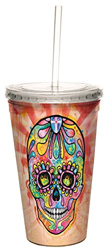 Spectral Sugar Skull Double-Walled Cool Travel Cup with Reusable Straw, 16-Ounce - Dean Russo - Gift for Skull Lovers - Tree-Free Greetings (Sugar Skull Theme)