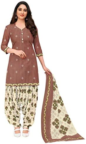 Miraan Women Cotton Unstitched Dress Material (SGPRI701, Brown, Free Size)