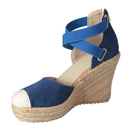 Espadrille Silk (Aunimeifly Womens Espadrilles Wedges Cap Toe Canvas Fisherman Shoes High Heel Elastic Cross Ankle Straps Sandals Blue)