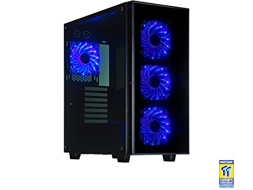 PC Hardware : Rosewill ATX Mid Tower Gaming Computer Case, Tempered Glass Panels, Up to 420mm GPU, 360mm Liquid-Cooling, 4 120mm Fans Pre-Installed - CULLINAN