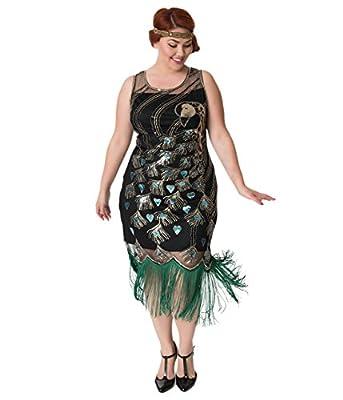 Unique Vintage Plus Size 1920s Black & Green Beaded Antoinette Peacock Flapper
