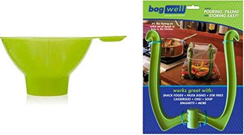 Freezer Bag Holder Stand with Wide Mouth Canning Funnel Bag Well Baggie Baggy Rack Holder Bundle