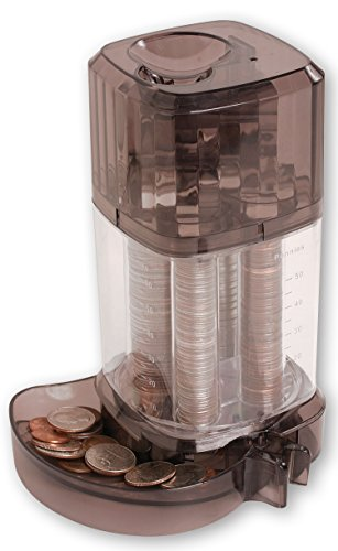 Automatic Coin Sorter Piggy Bank - Clear Standing First Piggie Bank Toy Sorts Stacks Dispenses USA Coins Pennies Nickels Dimes ()
