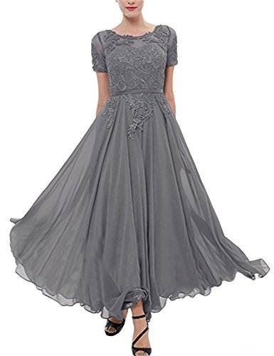 ... Women s Lace Chiffon Mother of The Bride Dress Short Sleeves Tea Length  Prom Dress Silver Size 18plus.    c8f6ee99f