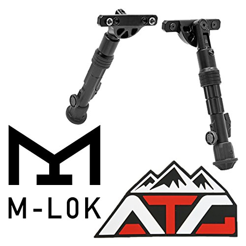 Recon Flex KeyMod M-LOK Bipod Center Height 5.7 to 8.0 Aluminum 10.8 oz + ATG PVC Rubber Velcro Patch (M-LOK)