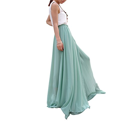 MELANSAY Belle Bow Tie Summer Beach En Mousseline De Soie Taille Haute Maxi Jupe Turquoise Pale