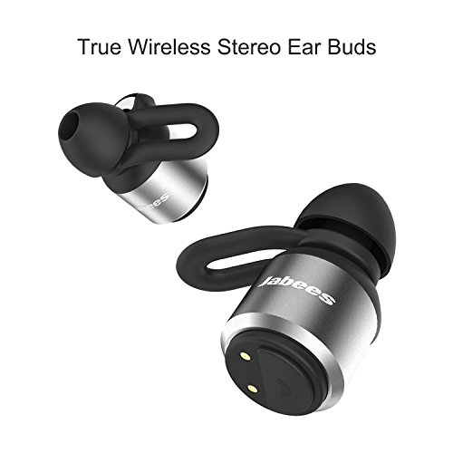 True Wireless Stereo Bluetooth Sports Headphones With Microphone Jabees BTwins Aluminum Fitness Earbuds- Mini Modern Sweat Proof- Compact 450mAh Battery Charging Case - Variety Of Ear Tips-Cyber Grey