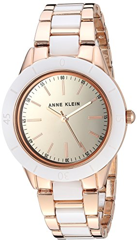 Anne Klein Women's AK/3160WTRG Rose Gold-Tone and White Ceramic Bracelet Watch (Ceramic Watch Jewelry)