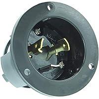 Journeyman-Pro 2615, NEMA L5-30 Flanged Inlet Generator Plug, 30A 125 Volt, Locking Receptacle Socket, Black Industrial Grade, Grounding 3750 Watts (No Cover Included)