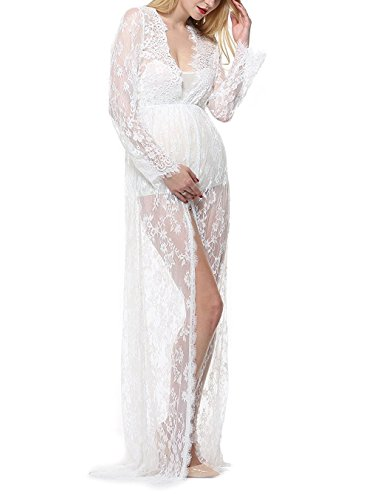 Pregnant Women Photography Lace Dress, White See-Through Maxi Dress with Long Sleeve V-Neck Split Front Lace