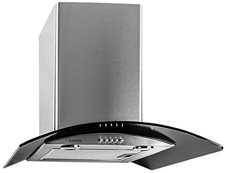 Klarstein GL60WSB campana extractora de pared (canalizada, 600 m³/h, clase energética D, halógena, acero inoxidable) - negro: Amazon.es: Hogar