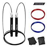 TOCO FREIDO Adjustable High Speed Jump Rope with Self-Locking Design, Screw-Free, 360 Degree Spin, Silicone Grip and 3 Jumping Rope Cables for Crossfit, Home Workout, Fitness Training