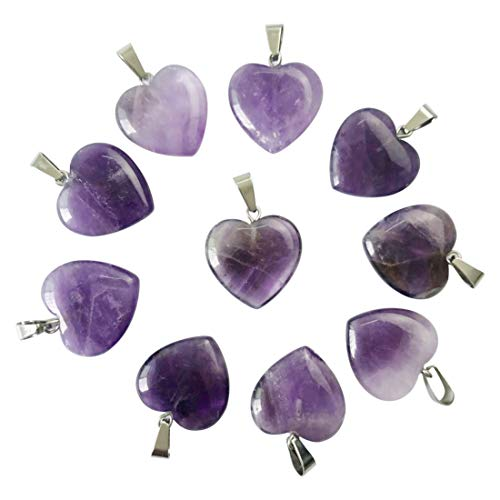 Charms Natural Amethyst Stone Love Heart Shape Bead Pendant 20mm for Jewelry Making Free (25)