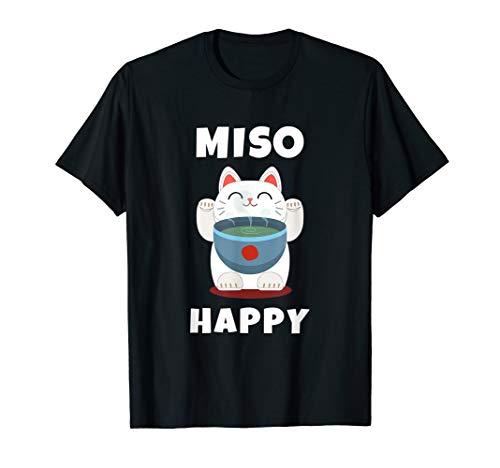 Miso Happy T-Shirt Japanese Cat Lover Pun Tee Gift
