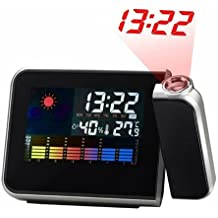 [NEW Version] ANYWII 180 Degree Projection Alarm Clock, Snooze, Colourful Screen LED Backlight, Date, Temperature, Humidness, Week, Alarm Status, Both Battery and Adaptor Operated (Color Black)
