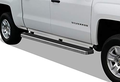 (APS iBoard (304 Stainless Steel Polished Silver 5in) Running Boards Nerf Bars Compatible with 2007-2018 Chevy Silverado GMC Sierra Double/Extended Cab & 2019 2500/3500 HD (Excl. 07 Classic))