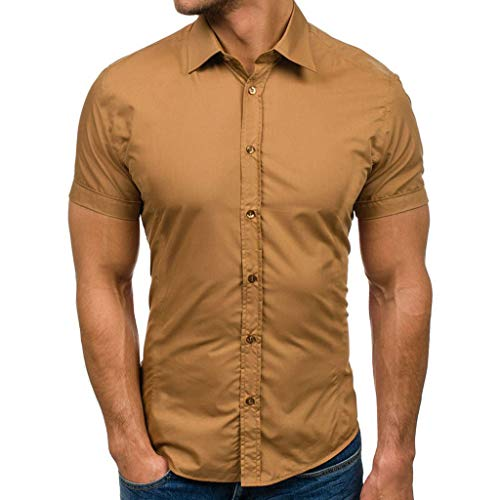 Men's Long-Sleeve Shirt Gradient Color Solid Oxford Shirt Comfort Flex Shirt Classic Solid Soft Stretch Short Sleeves Khaki ()