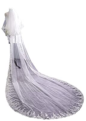EllieHouse Women's Custom Made Long Lace Wedding Bridal Veil With Free Comb E72
