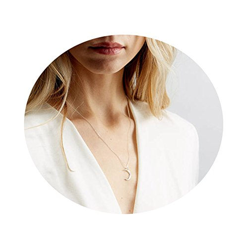 Befettly 14k Gold Fill Dainty Moon Phase Simple Moon Necklace Crescent Moon Full Moon Pendant Necklace-Moon-SL