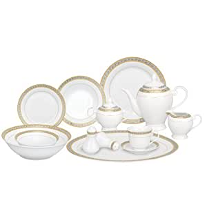 Lorren Home Trends 57-Piece Porcelain Dinnerware Set, Safora, Service for 8