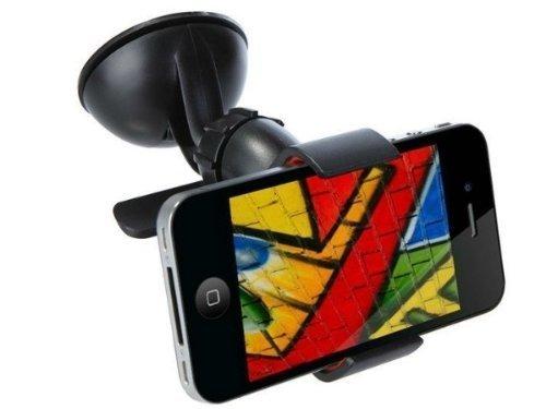 [Taro Works]universal Car Holder for Smart Phone Galaxy Xperia Psp Iphone5 Ipone4 4s Samsung I9300 Black 360 Rotary Gs4 S3 S2 Nokia Lumia 920 HTC Onex EVO 4g Rhyme Droid Razr Maxx Lg Optimus G Blackberry Z10 Torch Compact Size GPS Car Cradles ()