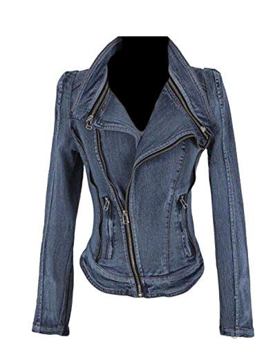 Gocgt Women's Slim Denim Jacket Turn-Down Zipper Jacket Denim Outwears 1