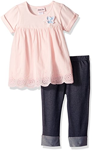 Butterflies Capri Girls Baby Clothes (Little Lass Baby Little Girls' 2 Piece Fashion Capri Set, Blush, 6X)