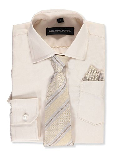 Kids World Big Boys' Dress Shirt with Accessories - tan, 10 Big Kids Tan Apparel