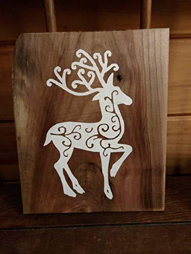 MarthaFox Simple Christmas Filigree Deer Reclaimed Wood Sign Embellished Deer Sign Rustic Decor Deer Cabin Decor Deer Sign All Season Deer Sign