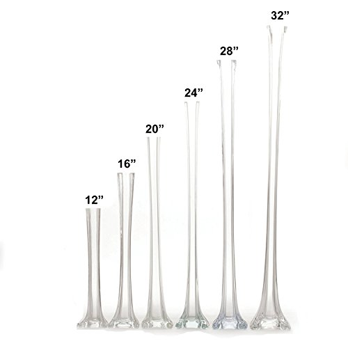 Set of 12 pieces 16 Inches Tall Glass Eiffel Tower Vases for Centerpieces, Flowe