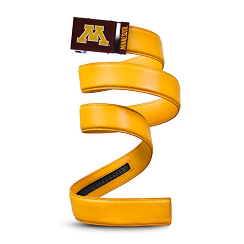 (NCAA Minnesota Golden Gophers Mission Belt, Gold Leather, Custom (up to 56))