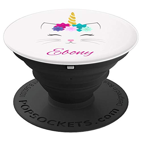 Ebony Phone Grip Cat Unicorn Personalized Name Gift - PopSockets Grip and Stand for Phones and Tablets