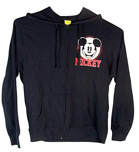 - 1928 Mickey Mouse 90th Anniversary Zip-Up Hoodie (Medium) Black