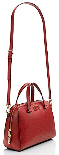 Leather Purse Embossed Kate Dynasty Street Bag Shoulder Small Spade Ostrich Crossbody Red Handbag Felix Kay Satchel qf774XwS