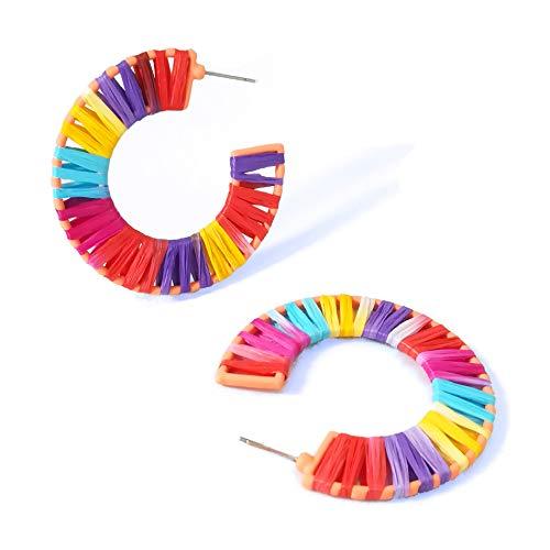 Geometric Octagon Hoop Earrings Raffia Handmade Earrings Statement Earrings for Women