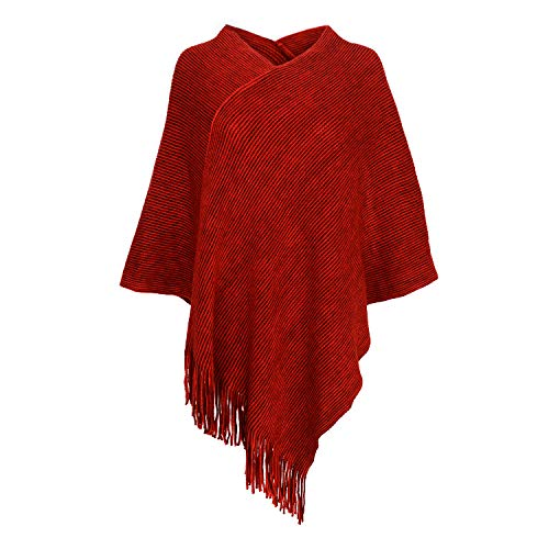 - Womens Poncho Sweater V Neck Knitted Pullover Shawls Wraps Capes with Fringes Gifts for Women Mom